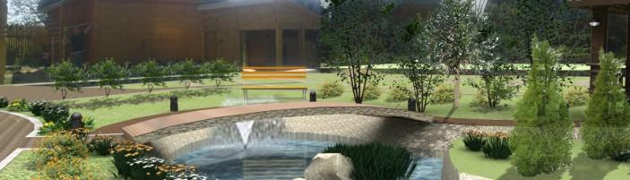 Проект ландшафта в саду.