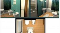 Радужная ванная комната с утра.
