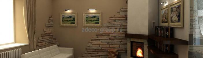Дизайн интерьера каминной. 3D.