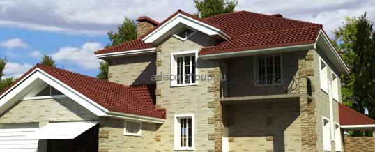 Проект дома с витражными окнами.