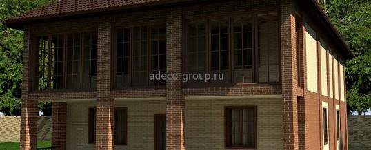 Большой двухэтажный дом с балконом