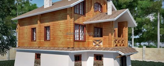 Комбинированный каменно-деревянный дом