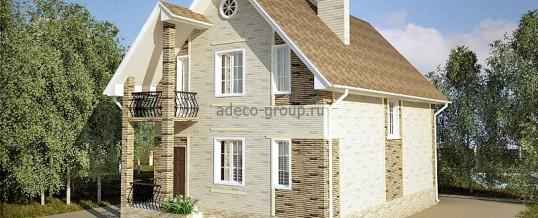 Проект узкого мансардного дома с балконом, РТ