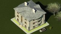 3D вид одноподъездного дома сверху