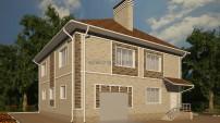 Проект квадратного дома с гаражом