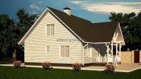 Вид на дом с торца к забору